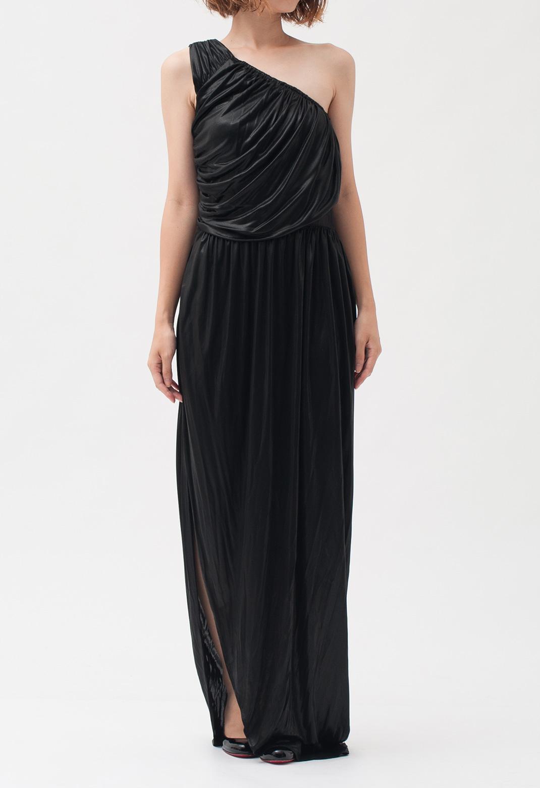 メタリック加工 ワンショルダー ロング ドレス