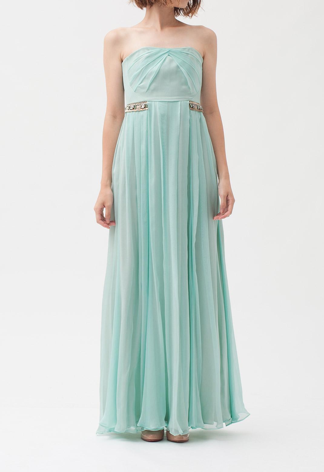 シルク ビジュー飾り ストラップレス ロング ドレス