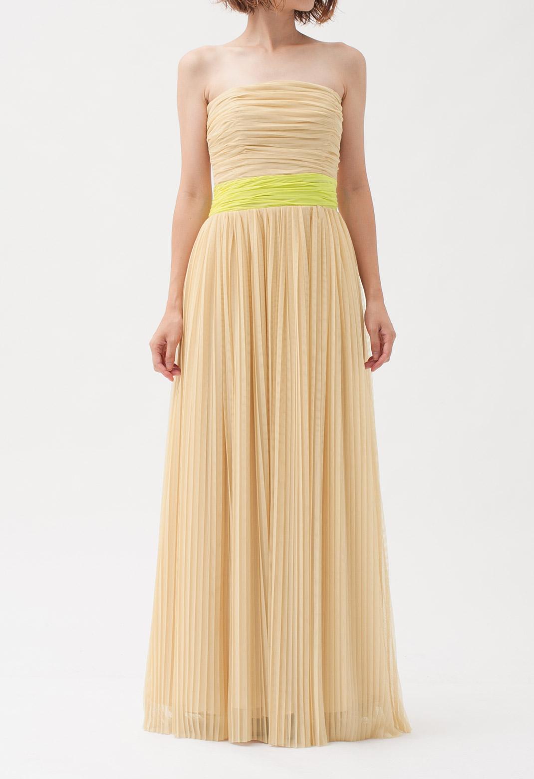 チュール ストラップレス ロング ドレス