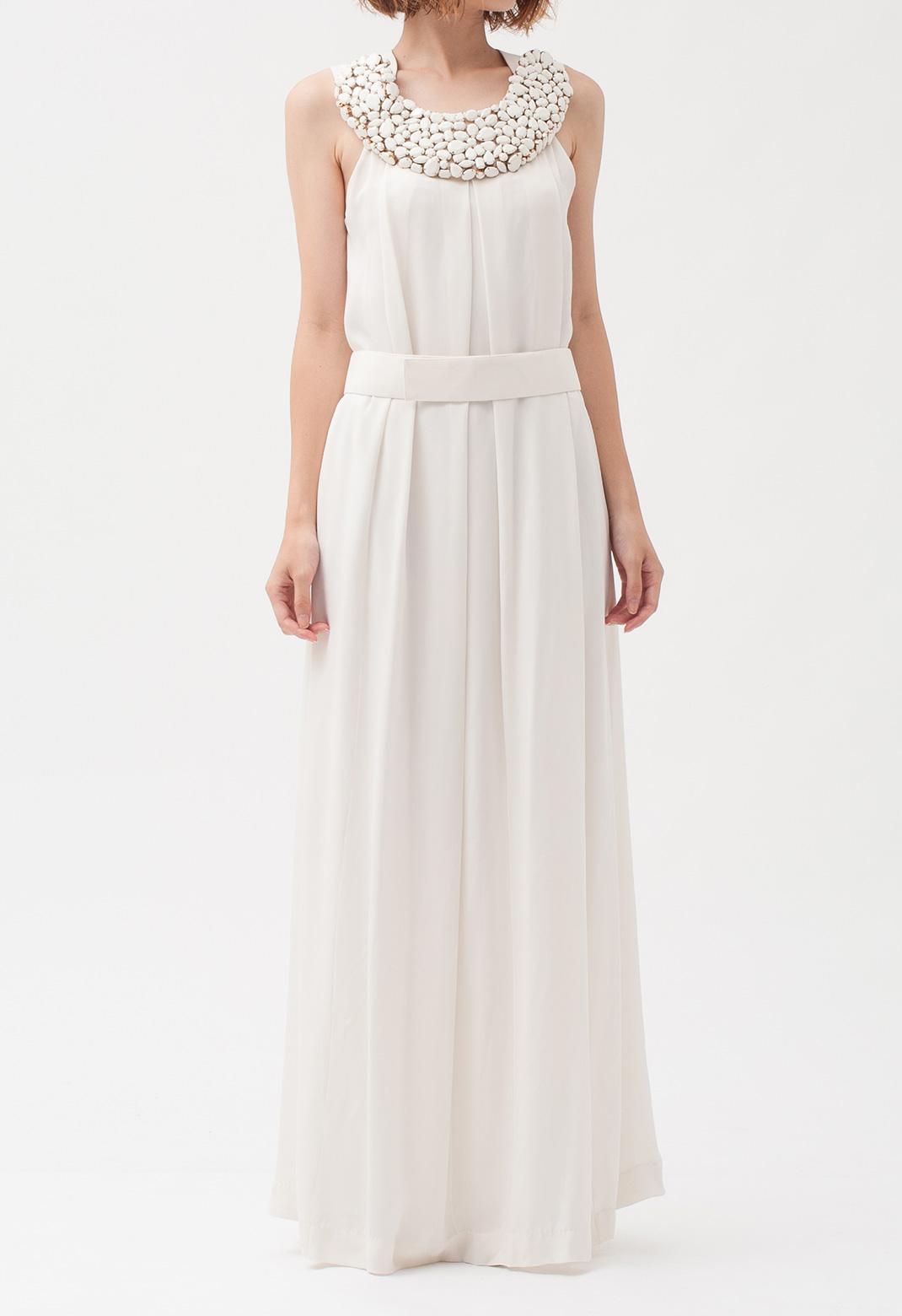 フロントビジュー飾り ノースリーブ ロング ドレス