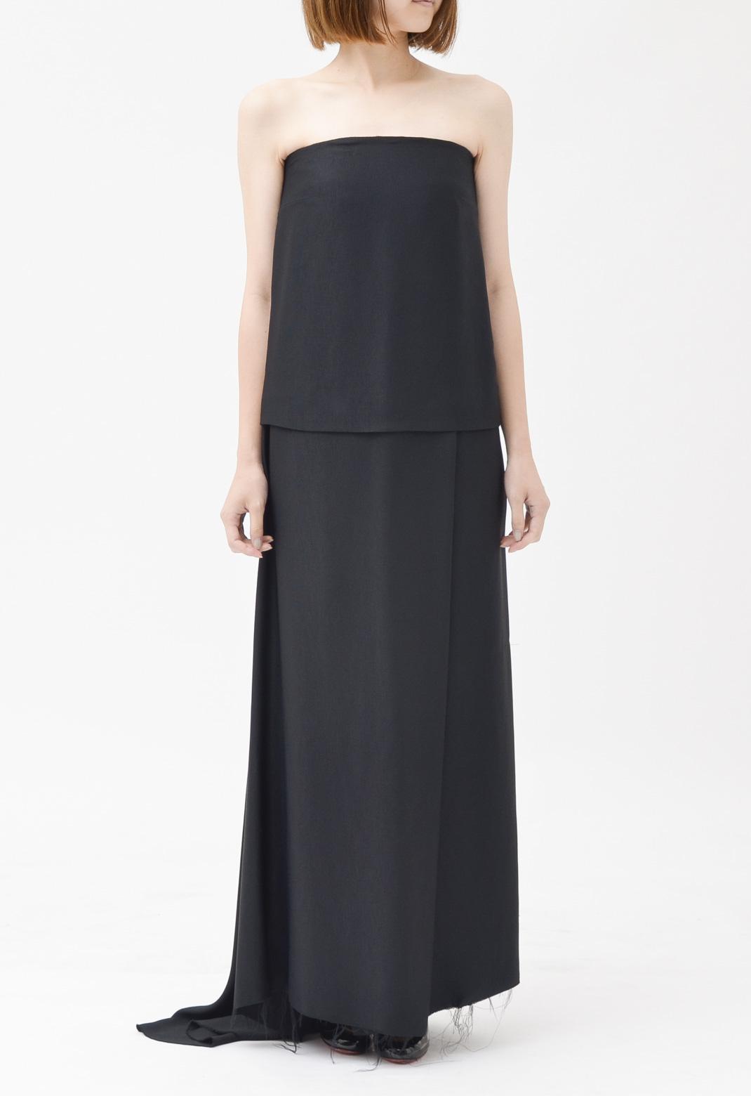 ストラップレス ロング ドレス