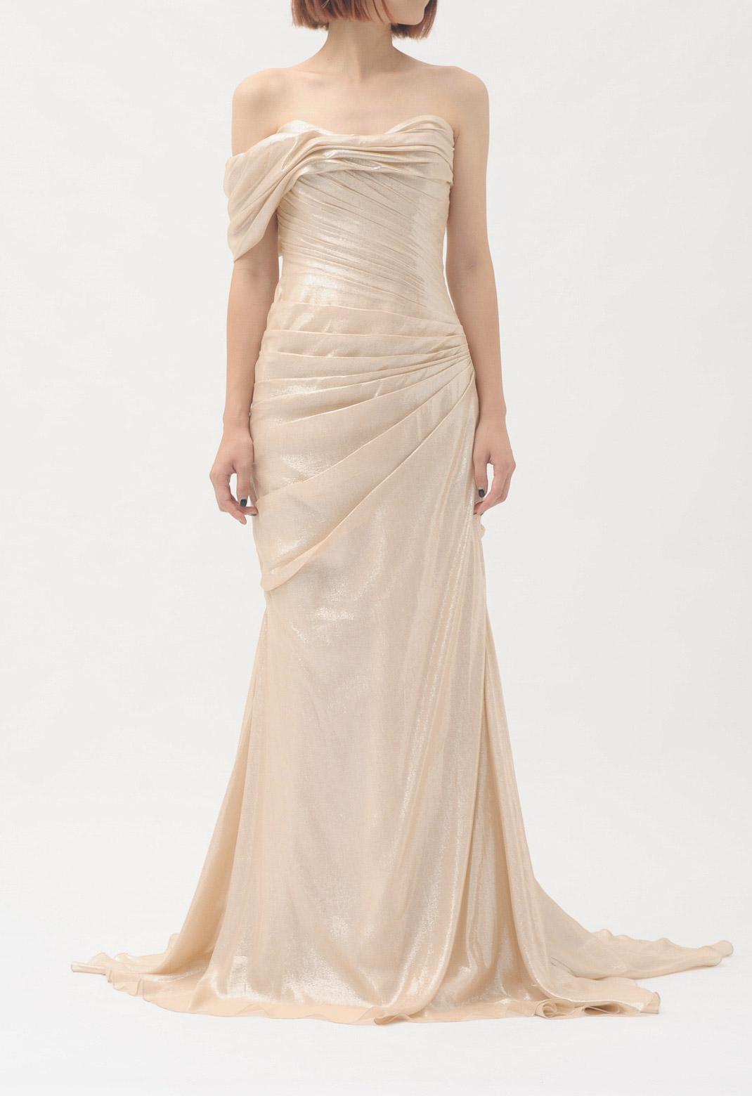 シルク ゴールドラメ加工 ベアトップ ロング ドレス