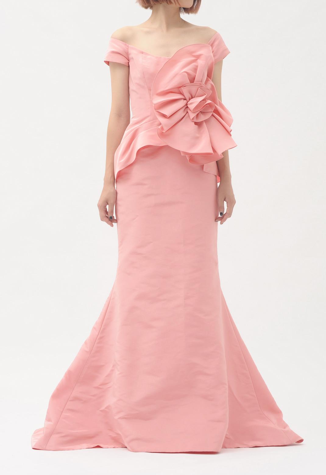 オスカーデラレンタ フラワーモチーフ オフショルダー ロング ドレス