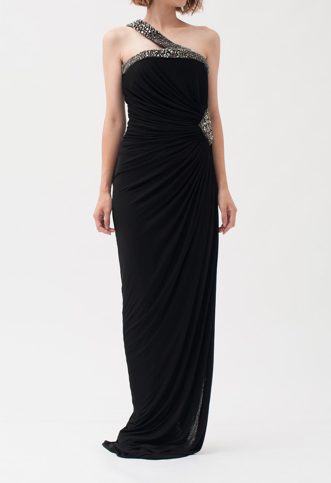 ビジュー飾り ワンショルダー ロング ドレス