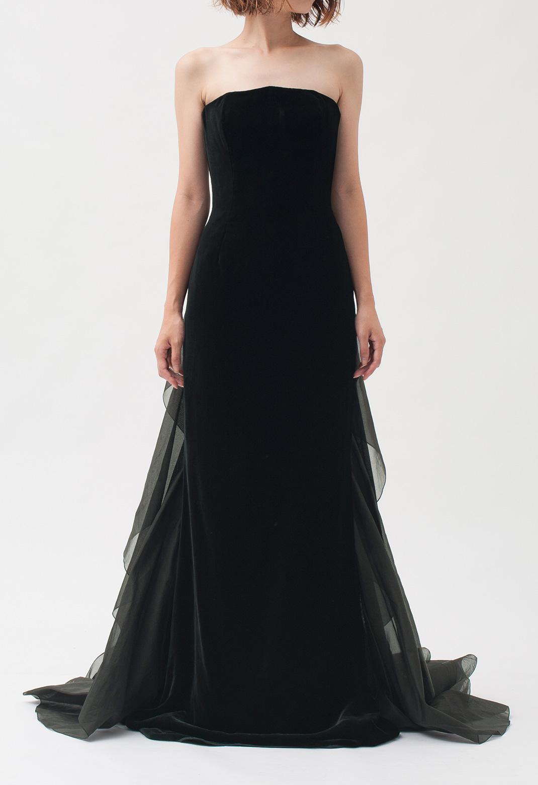 オスカーデラレンタ ベルベット  ストラップレス ロング ドレス
