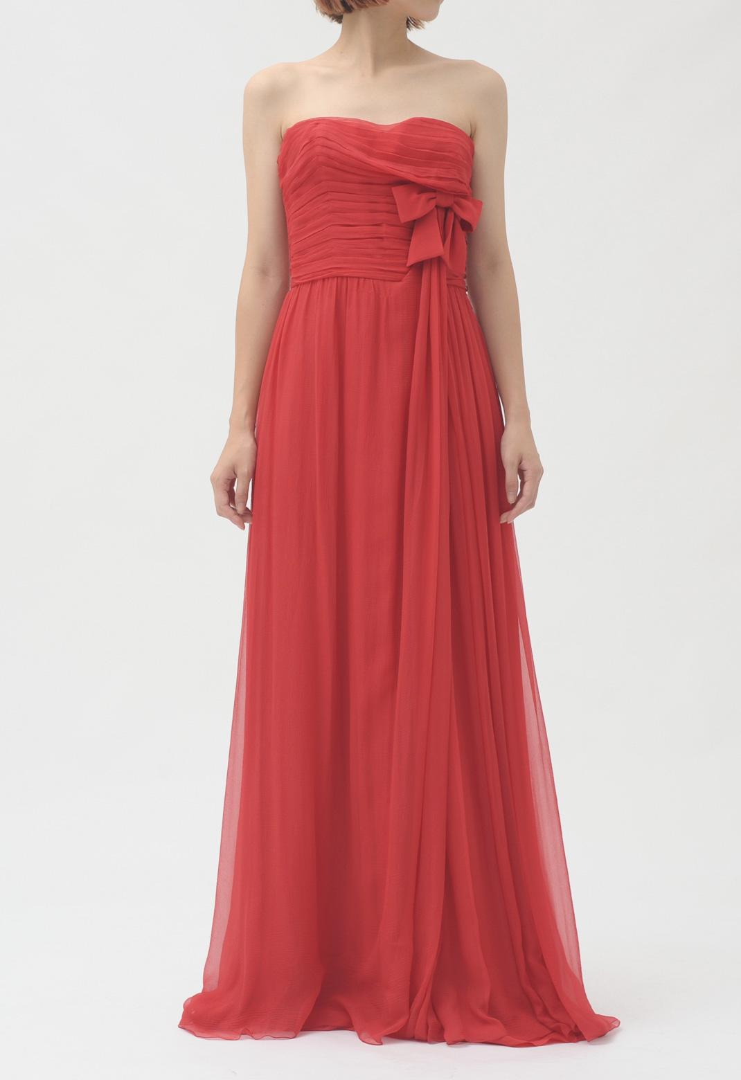 フロントリボン飾り ストラップレス ロング ドレス