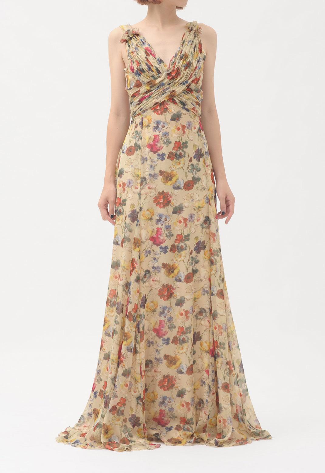 フラワープリント ノースリーブ ロング ドレス