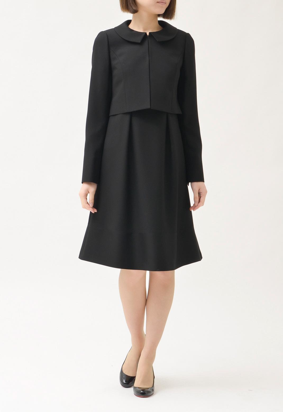 スーツ オープンカラー 長袖ジャケット & 七分袖 異素材切替 ワンピース