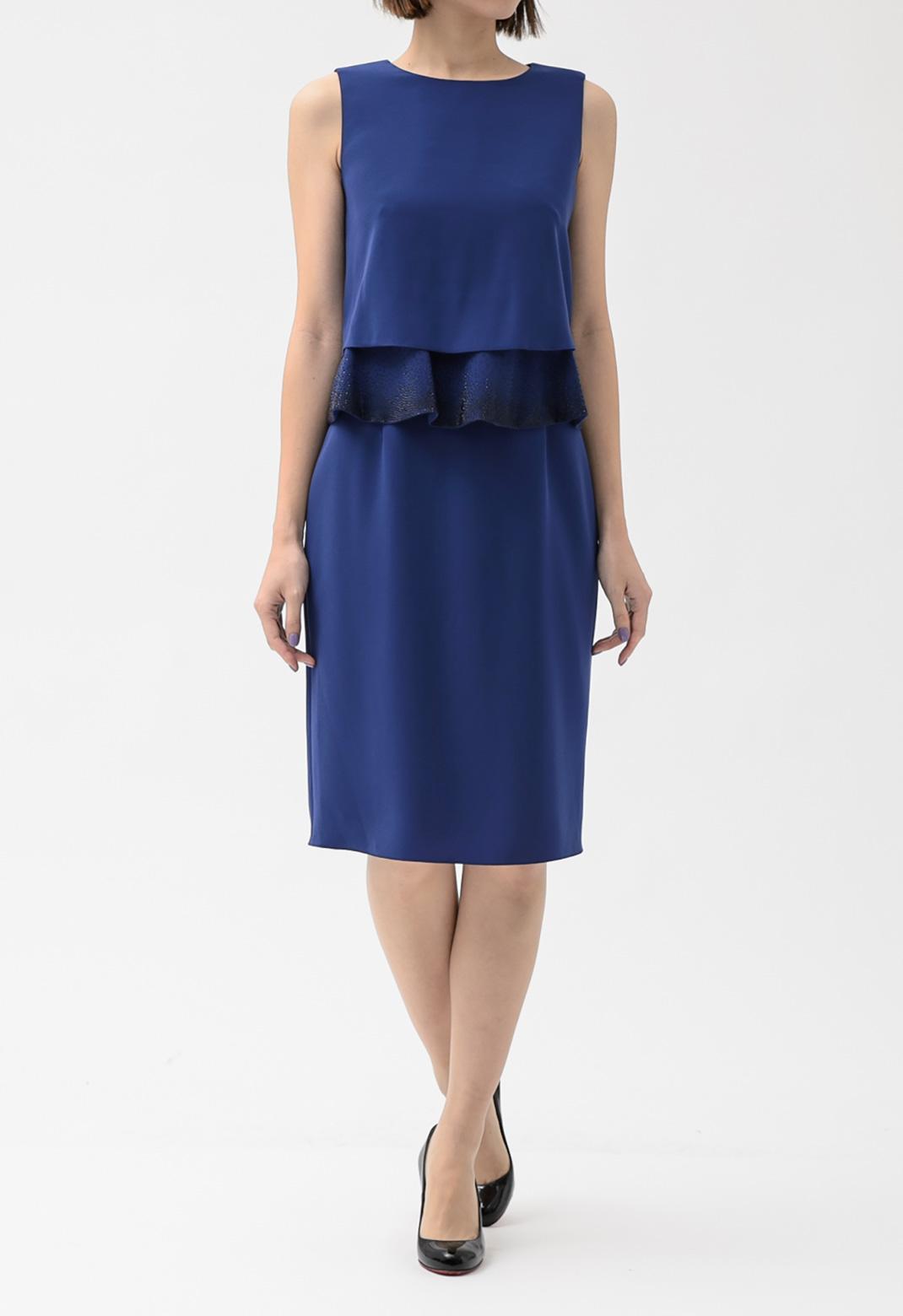 ウエストペプラムビジュー ノースリーブ ドレス