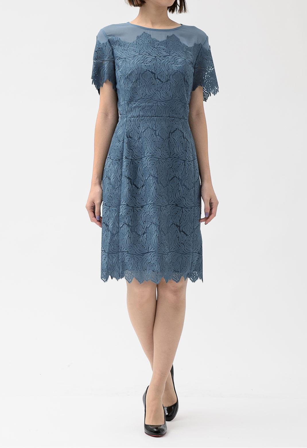 レース切替 半袖 ドレス
