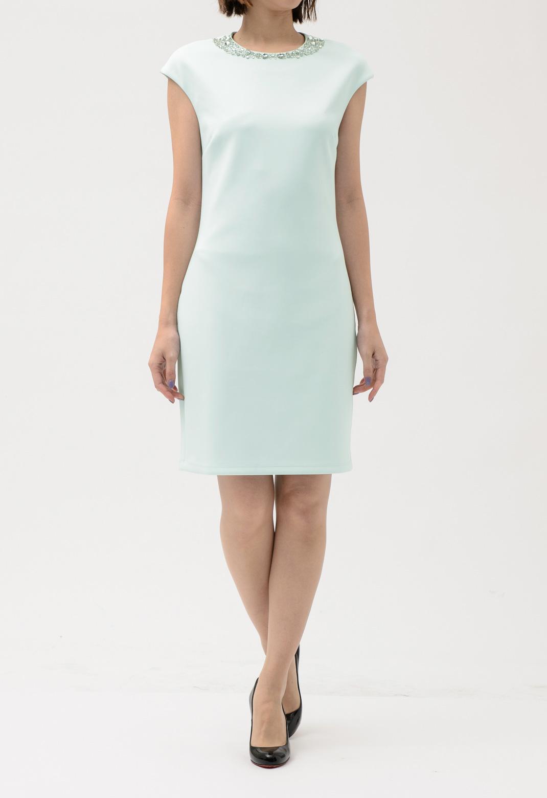 ネックビジュー飾り フレンチスリーブ ドレス