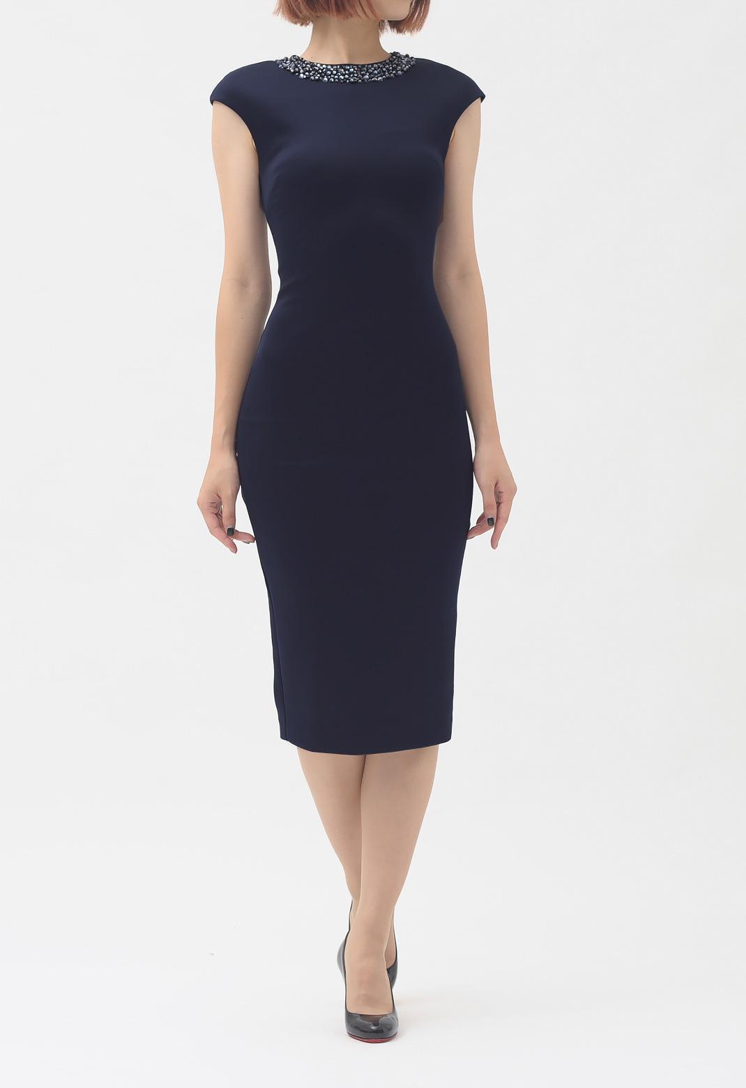 ネックビジュー飾り 半袖 ドレス