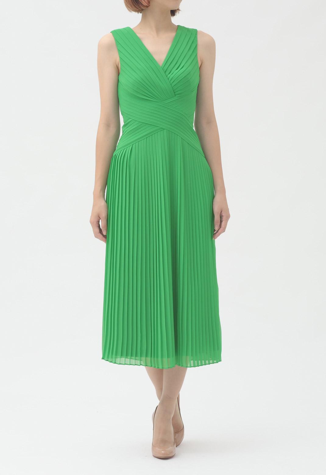 テッドベイカー サープリスネック 総プリーツ ノースリーブ ドレス