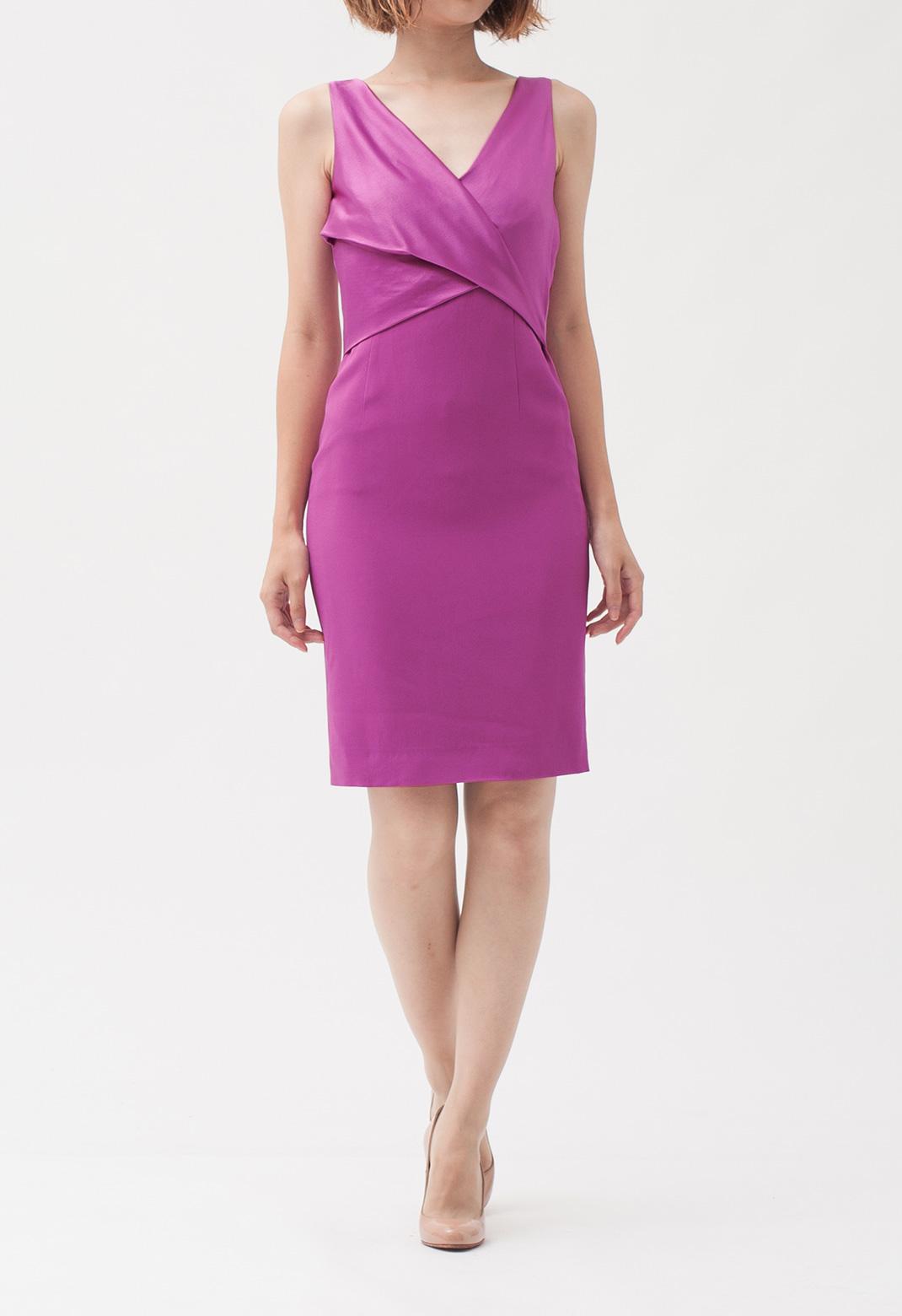 キャロライナヘレラ フロントクロス ノースリーブ ドレス