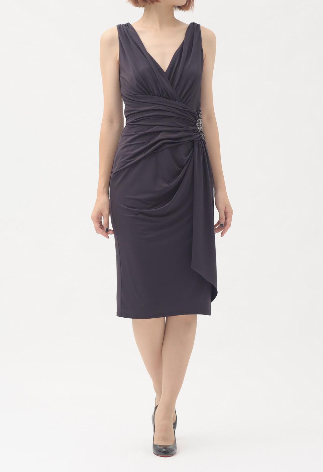 ウエストビジュー飾り ドレープ ノースリーブ ドレス