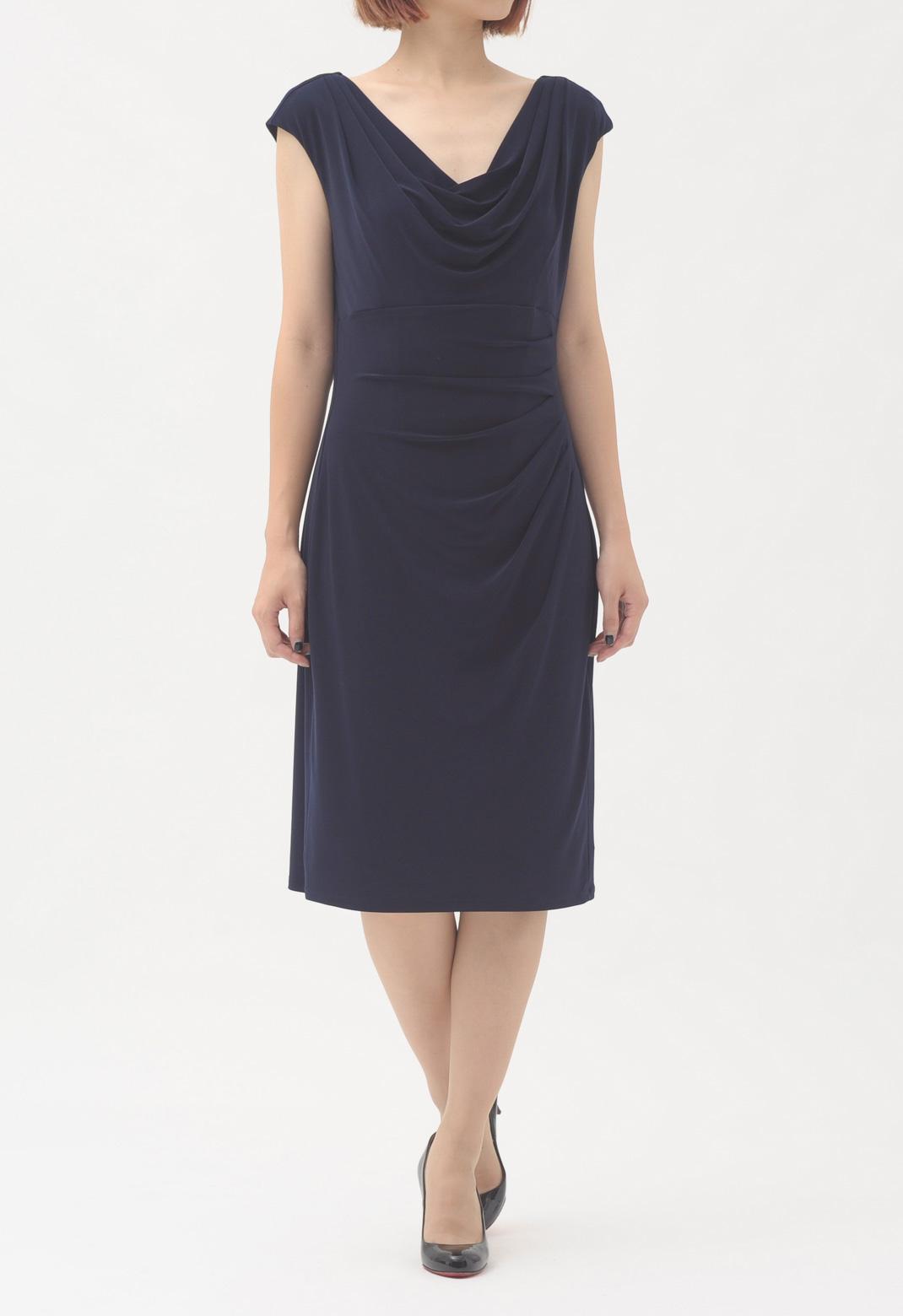 ネック&ウエストドレープ ノースリーブ ドレス