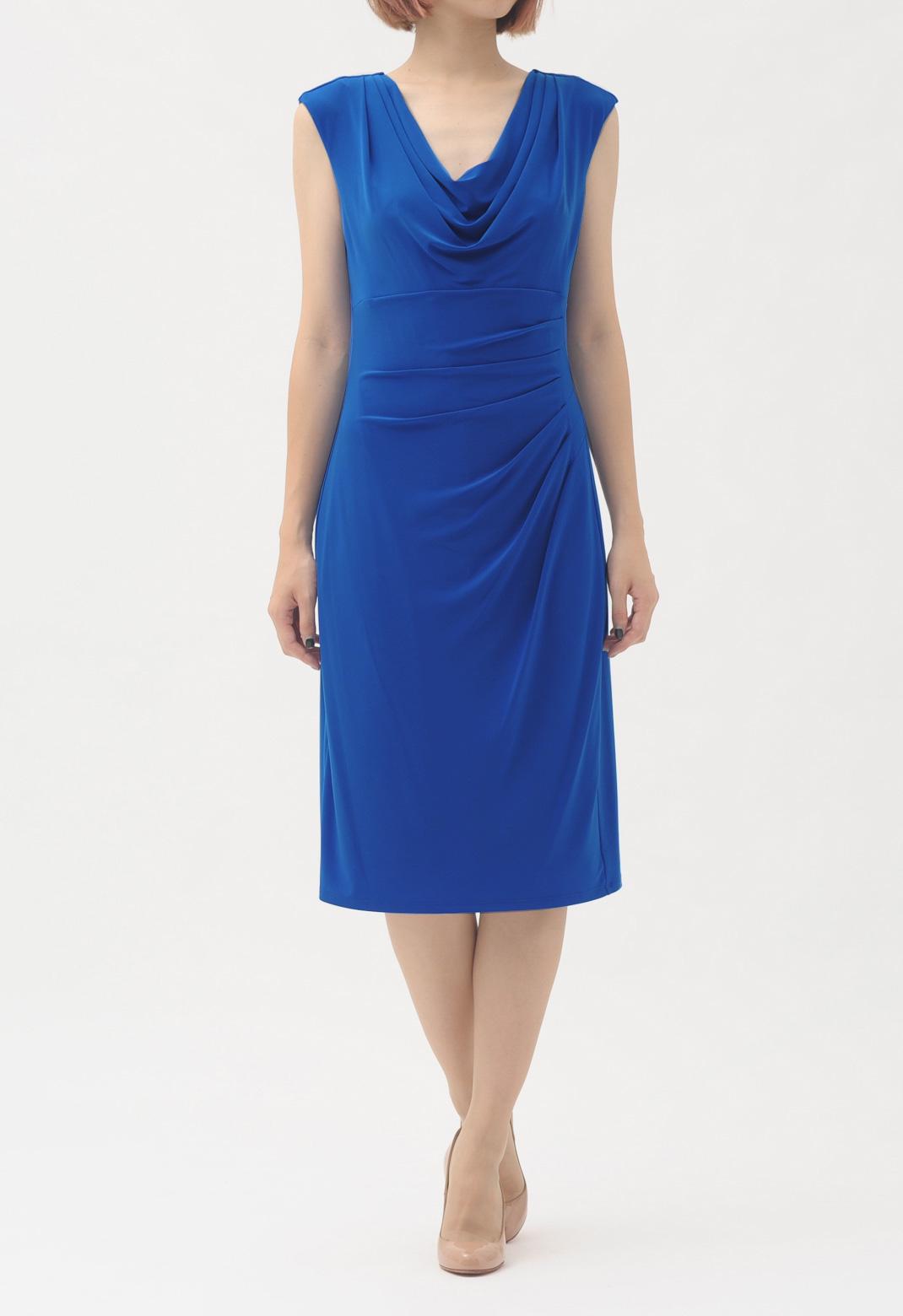 ラルフローレン ネック&ウエストドレープ ノースリーブ ドレス
