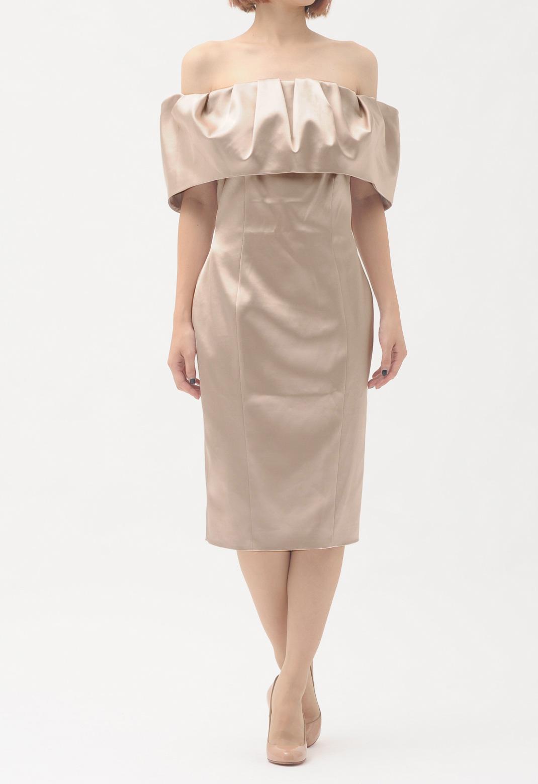 サテン オフショルダー ドレス