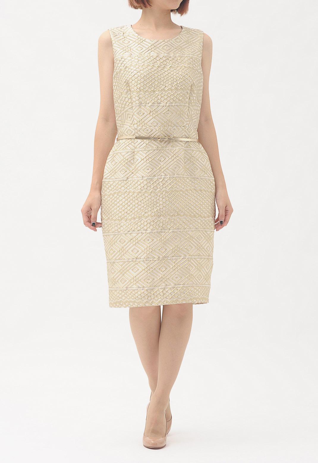 ゴールド刺繍 ベルト付 ノースリーブ ドレス