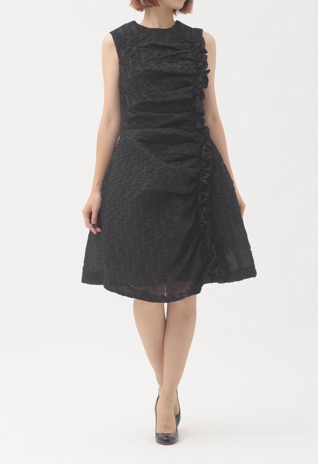 サイドフリル ノースリーブ ドレス