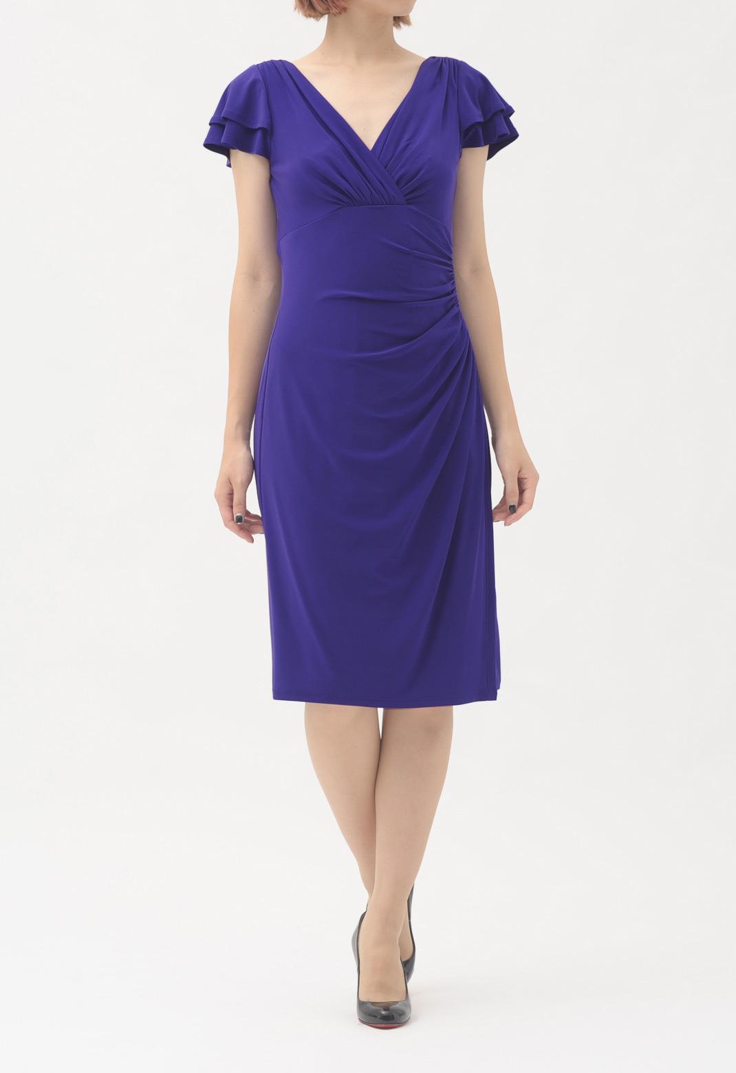 サープリスネック 半袖 ドレス