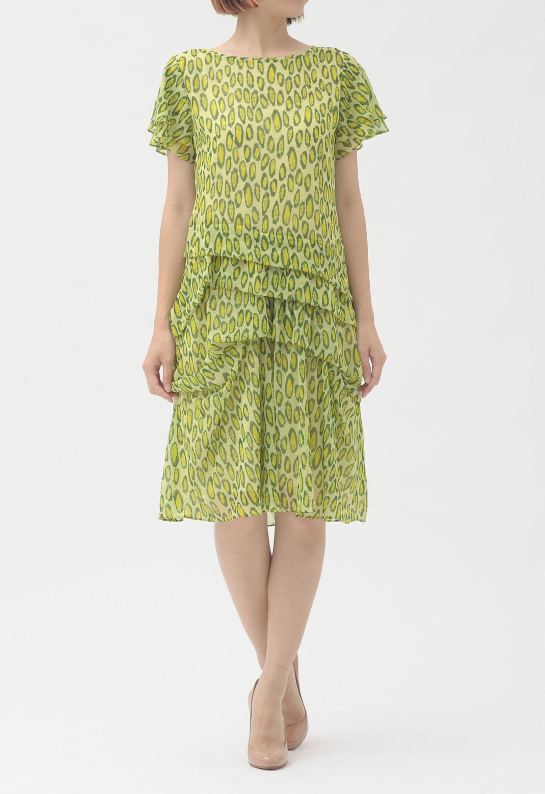 オーバルプリント 半袖 ドレス