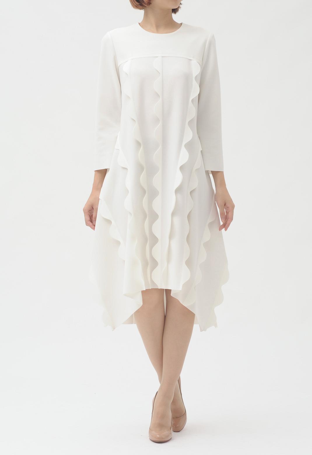 ウエーブフリル 長袖 ドレス