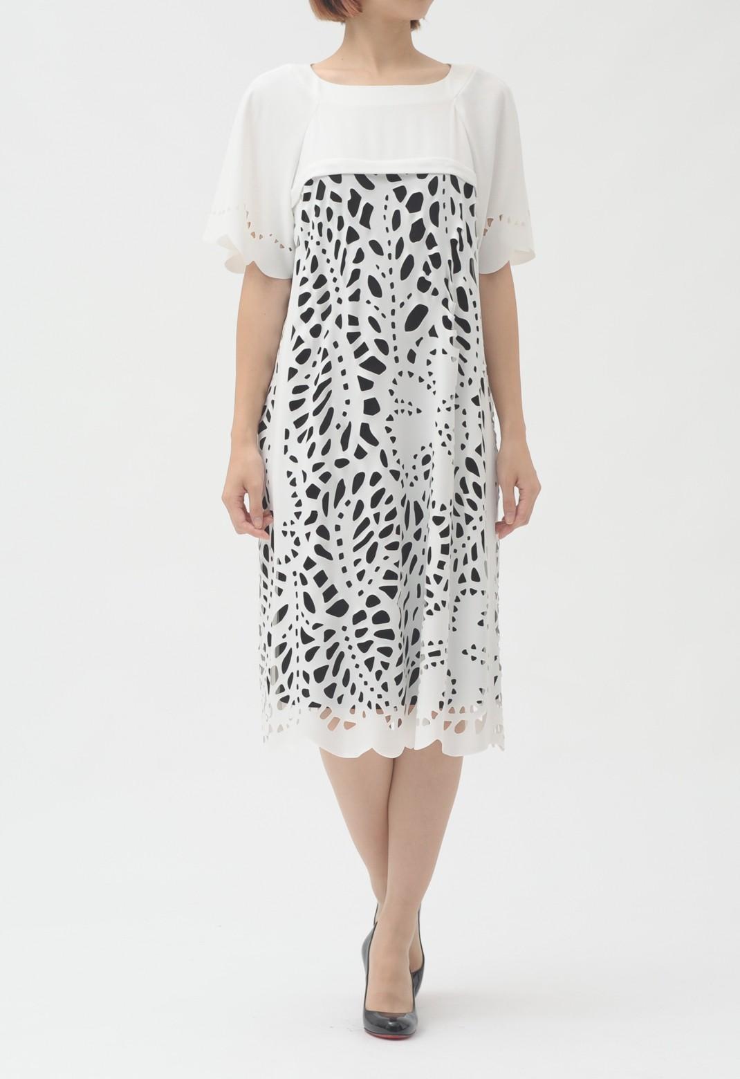 カットワーク 半袖 ドレス