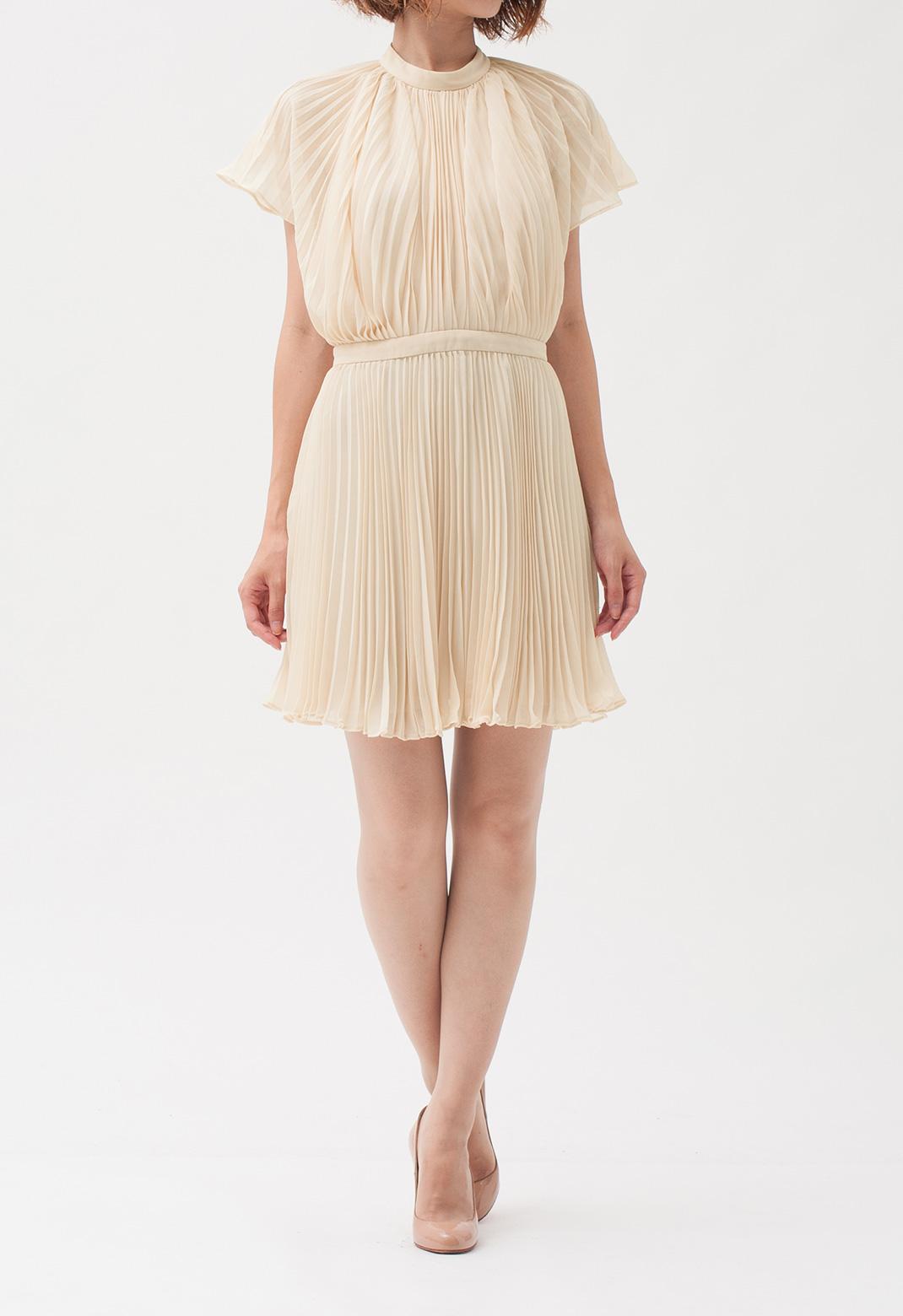 プリーツ ケープ風 半袖ドレス