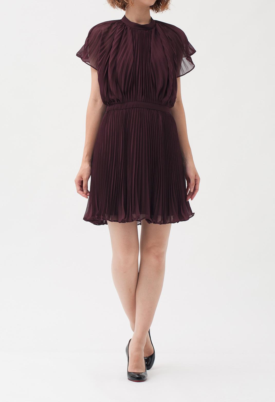 プリーツ ケープ風 半袖 ドレス