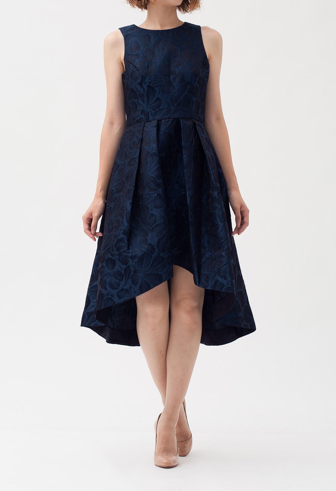 フラワー織り柄 ノースリーブ ドレス