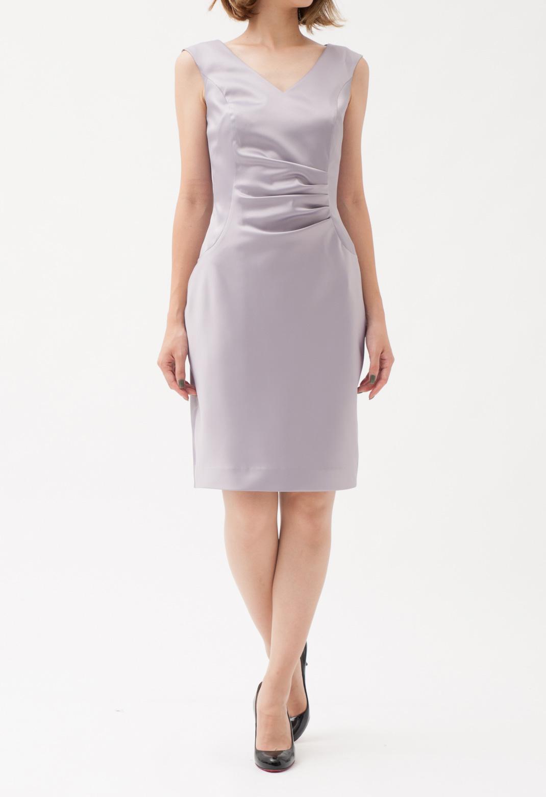 Vネック ウエストタック ノースリーブ ドレス