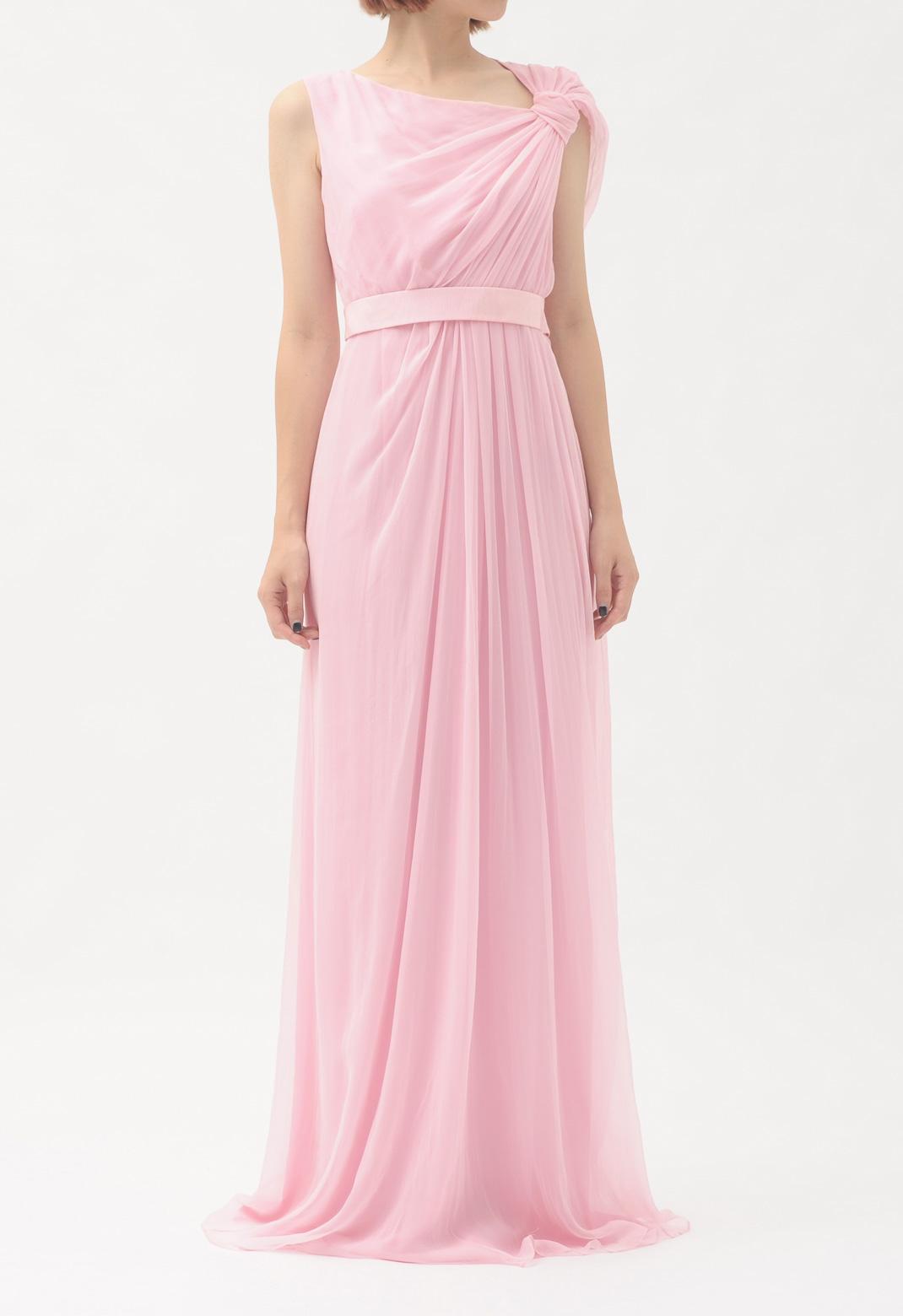 シルクノースリーブロングドレス
