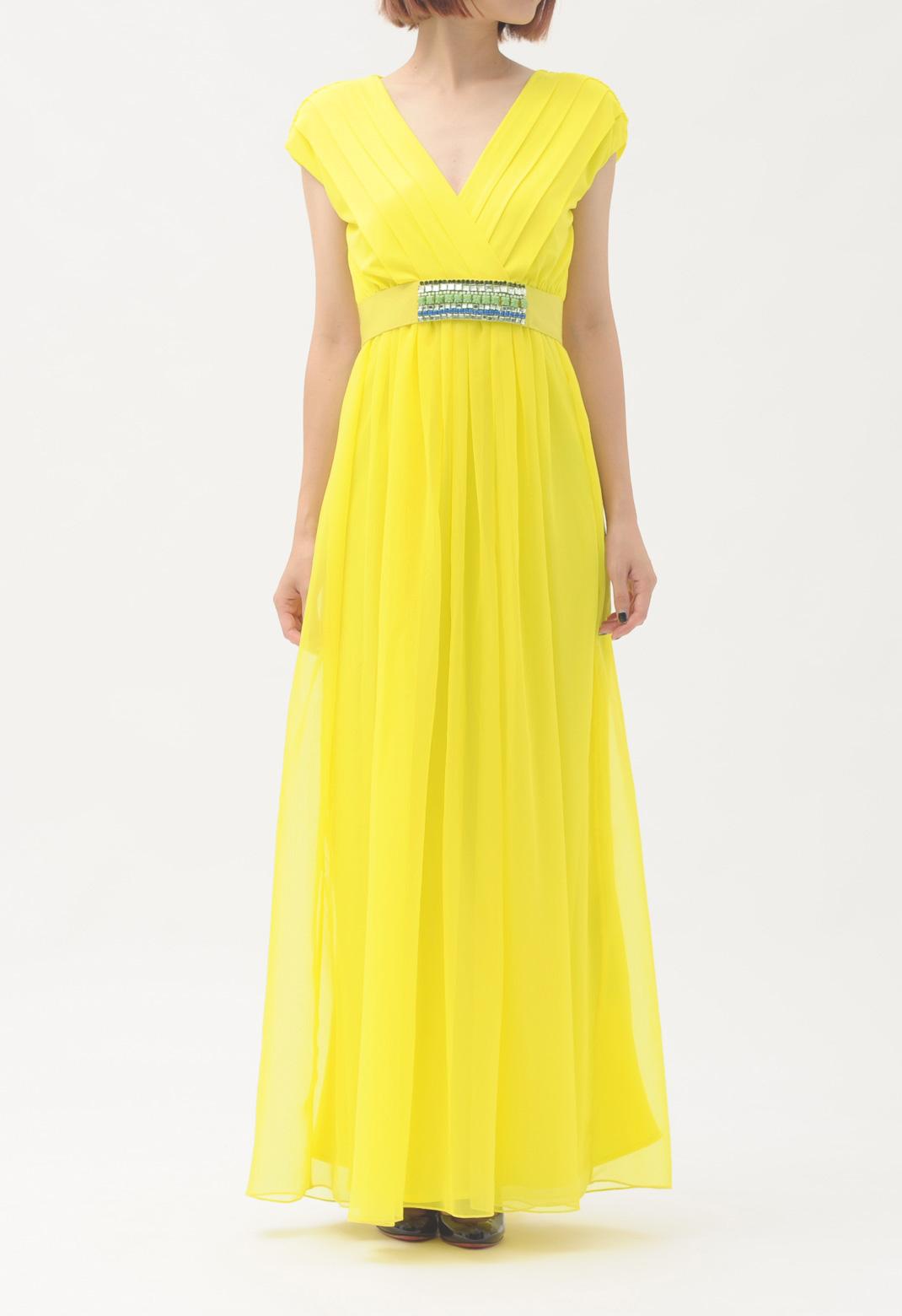 サープリスネック フレンチスリーブ ロング ドレス
