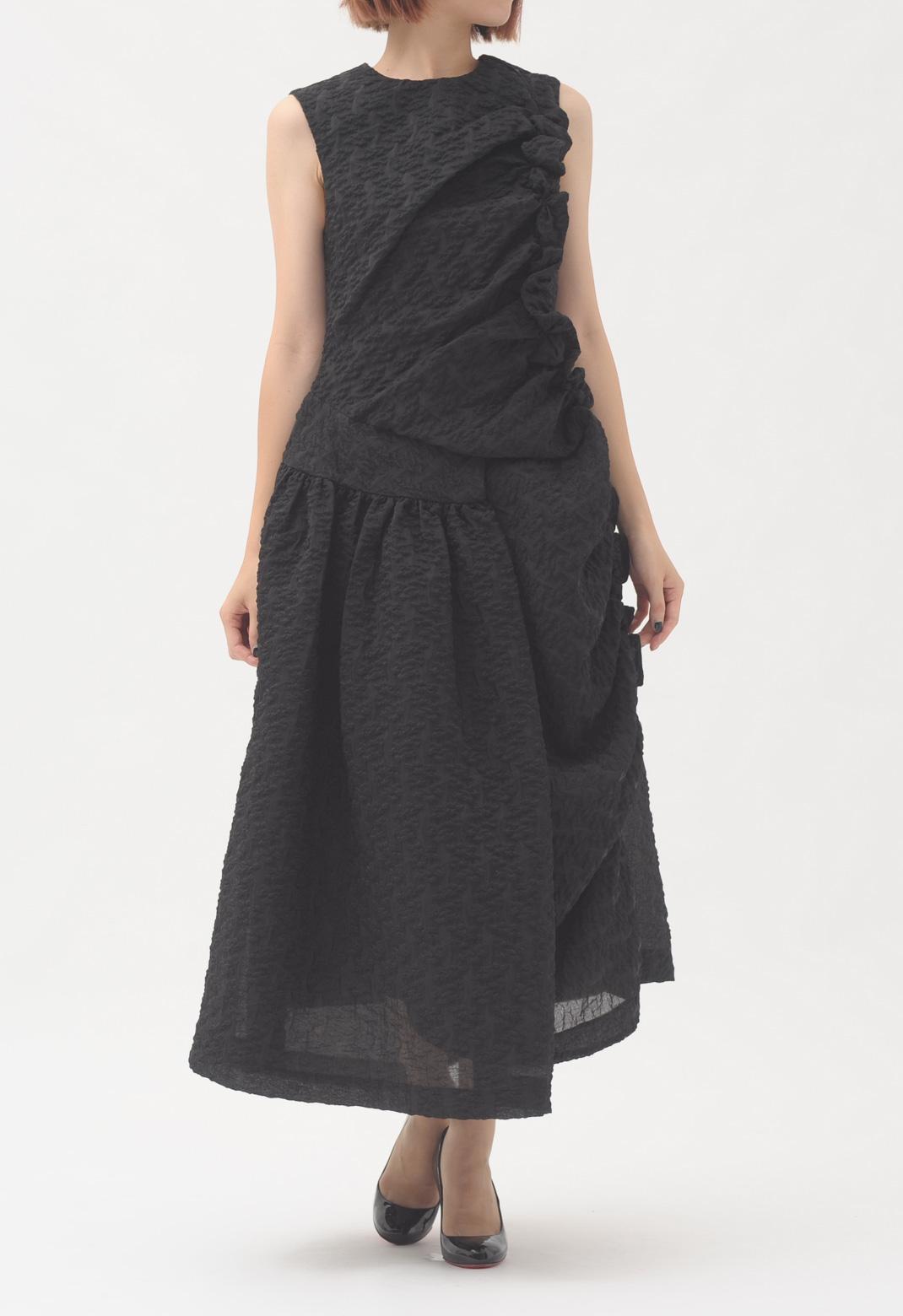 サイドフリル ラップスカート ロングドレス