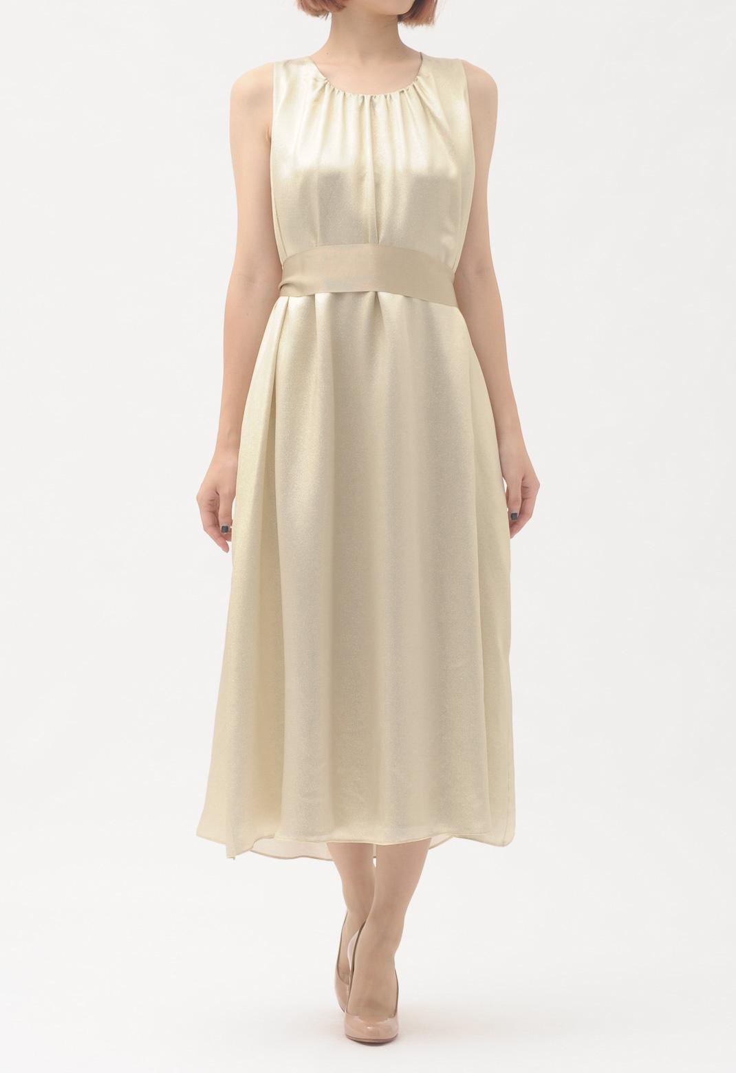 ゴールドラメ加工 ノースリーブ ロング ドレス <5Lサイズ>