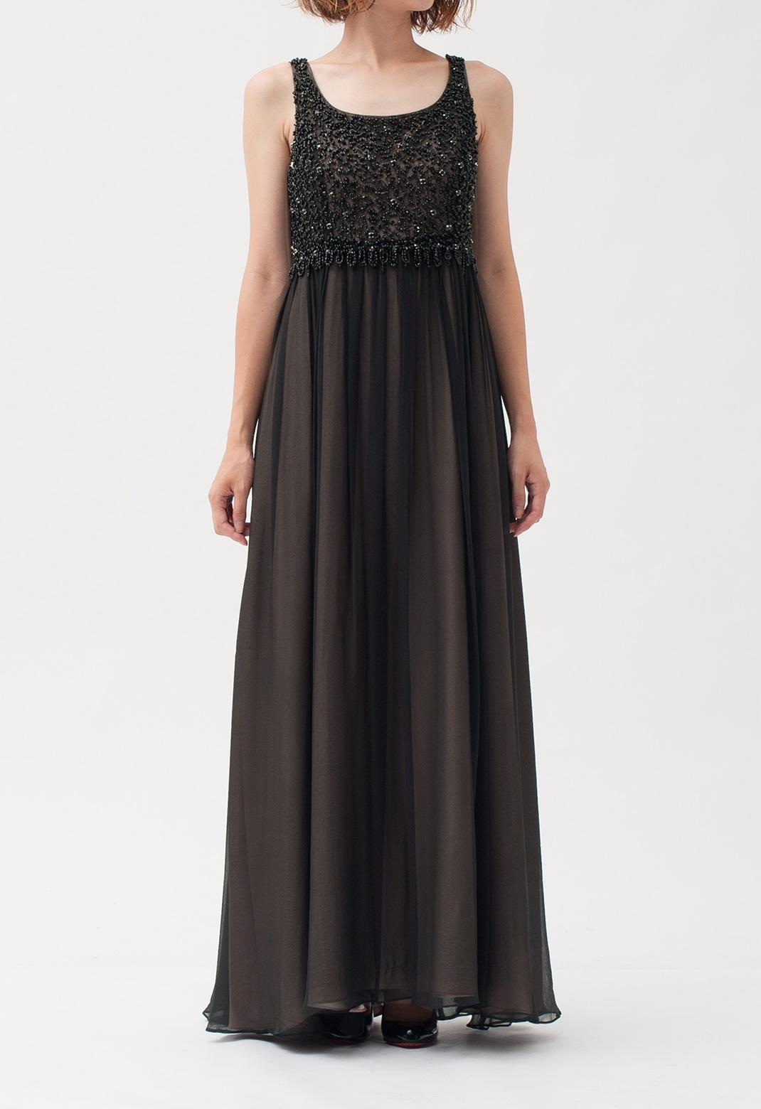 シルク ビーズ刺繍 ノースリーブ ロング ドレス