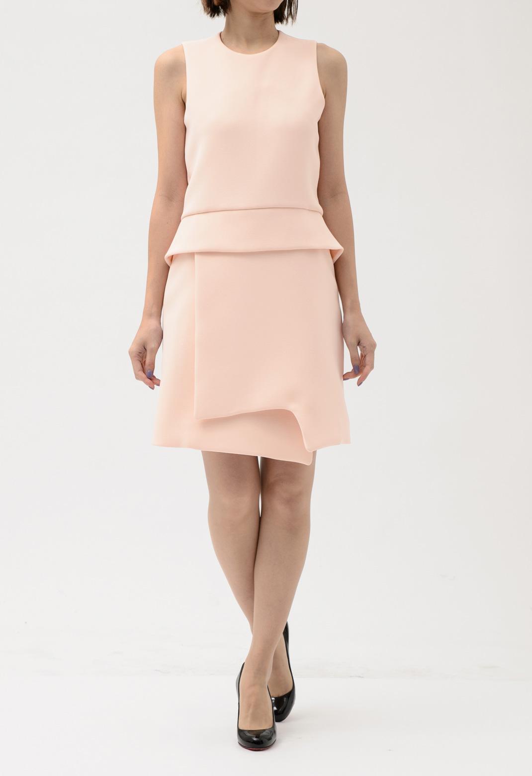 ウエストペプラム ノースリーブ ドレス