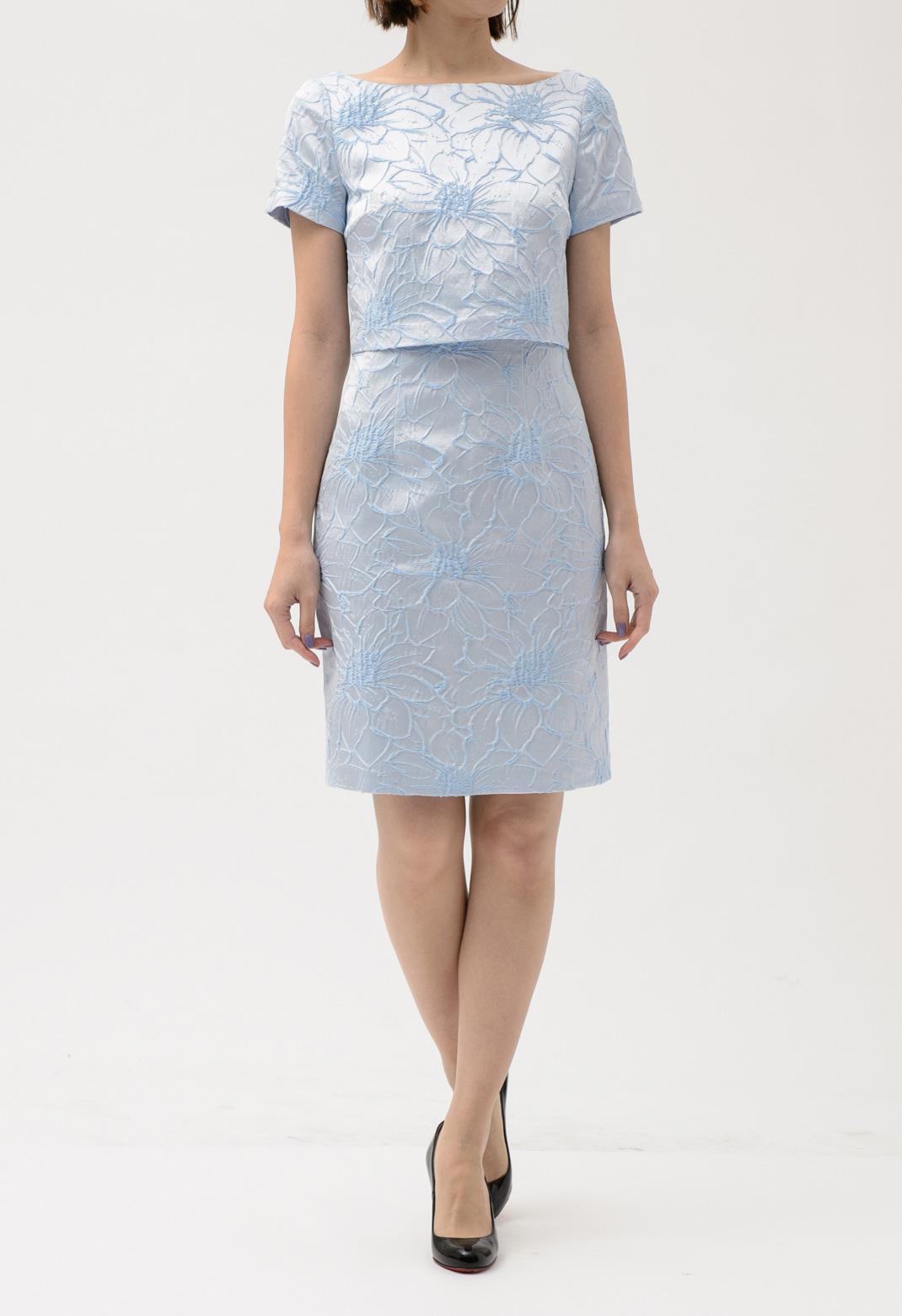 フラワープリント ツーピース風 半袖 ドレス