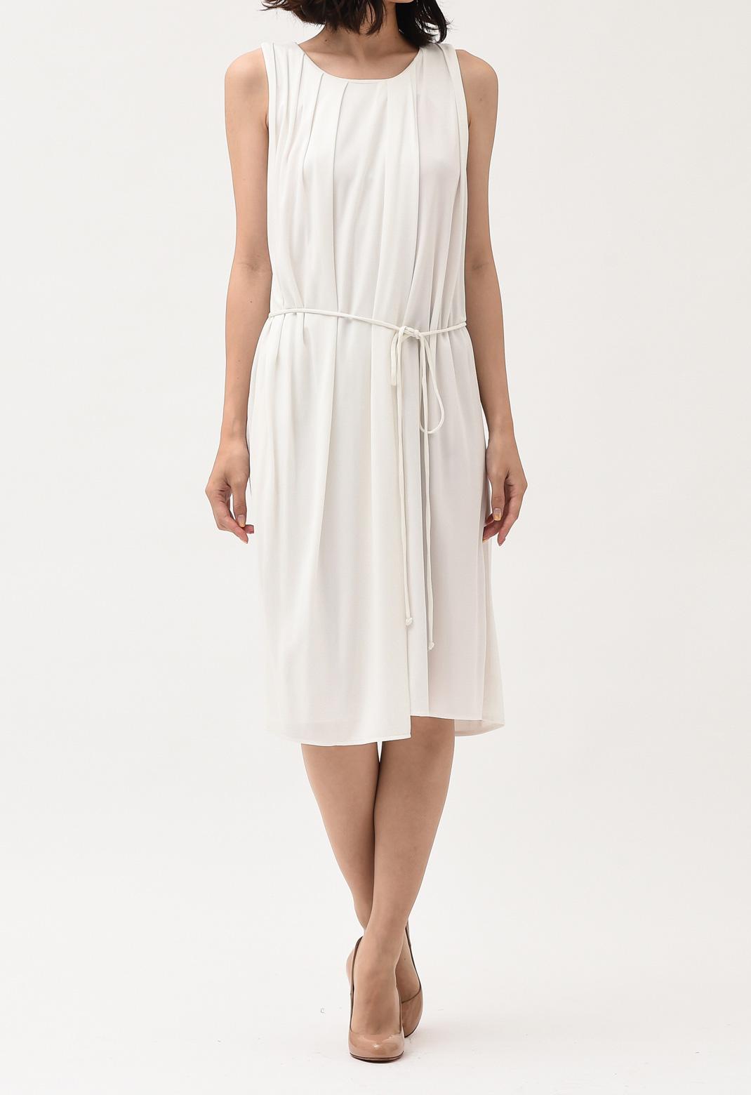 ランバン ドレープ ノースリーブ ドレス