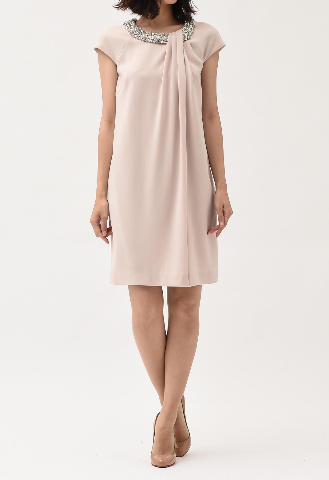 ネックビジュー飾り フロントドレープ フレンチスリーブ ドレス