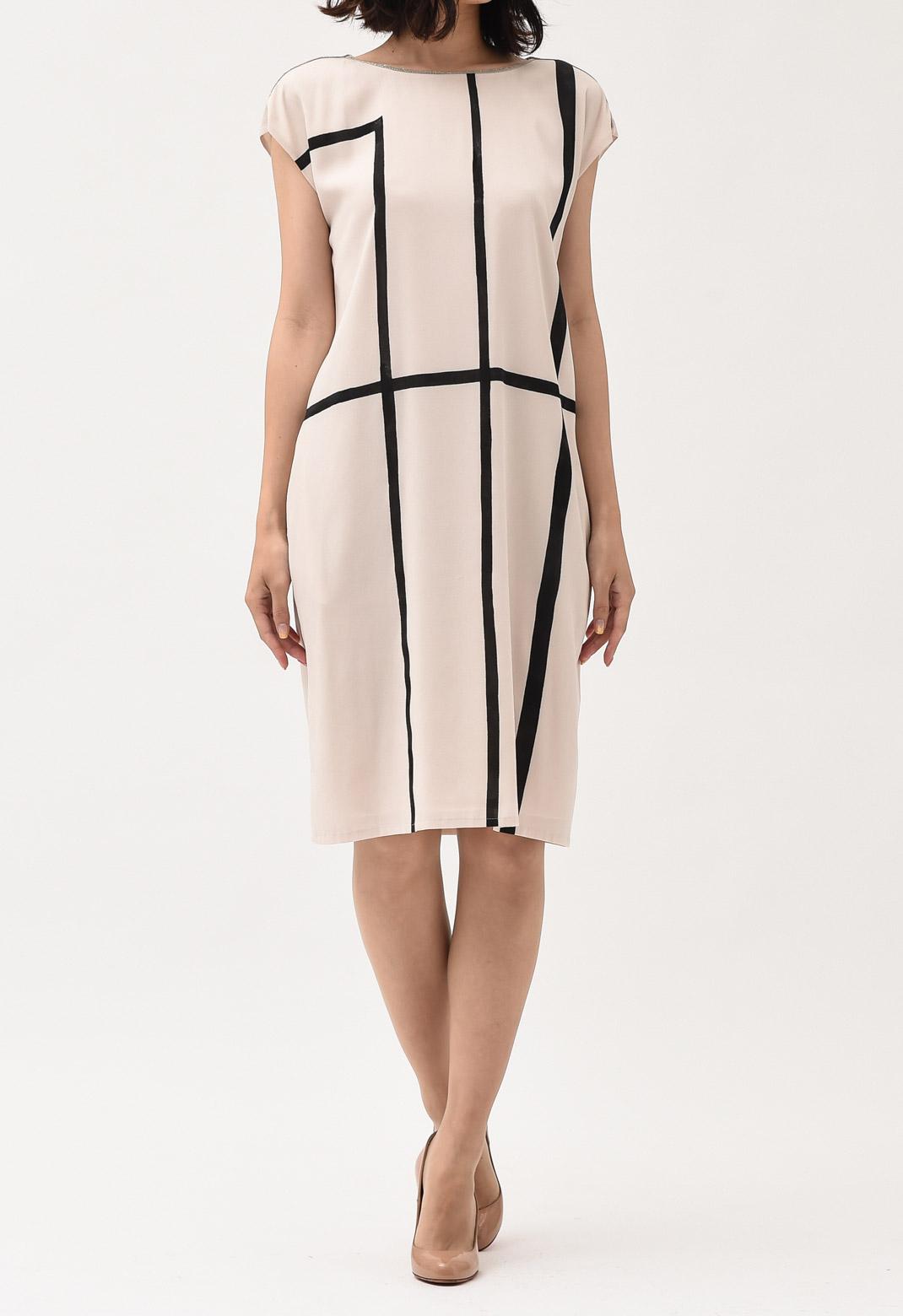 フロントチェック柄 ネックビジュー飾り フレンチスリーブ ドレス