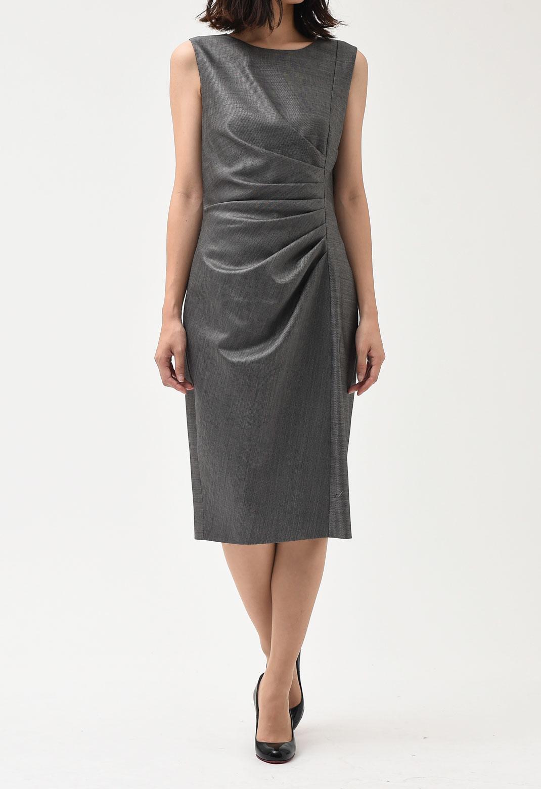 ウエストドレープ ノースリーブ ドレス