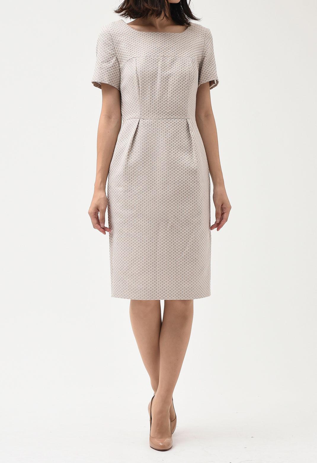 ラメ混サマーツイード 半袖 ドレス