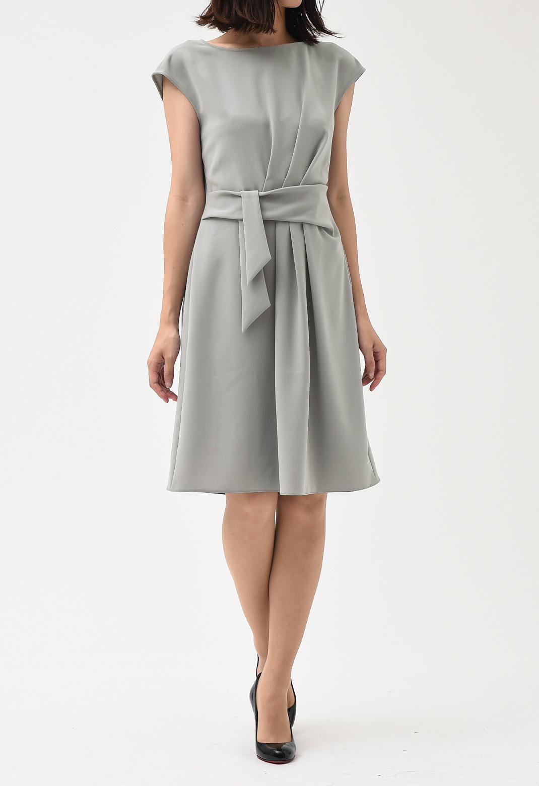 ウエストリボン×ドレープ ノースリーブ ドレス