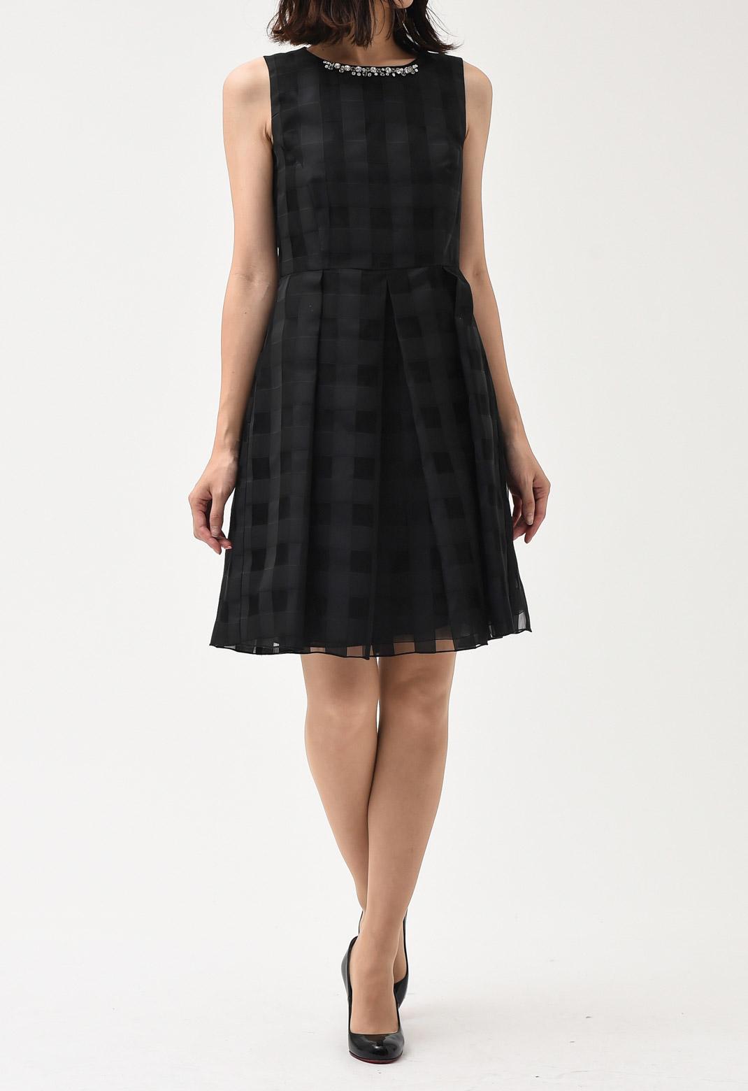 ブロックチェック ネックビジュー ノースリーブ ドレス