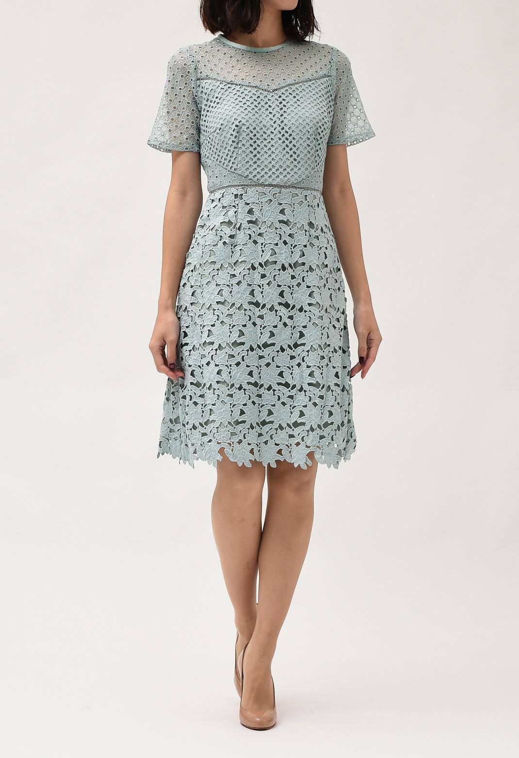 カットワークレース 半袖 ドレス