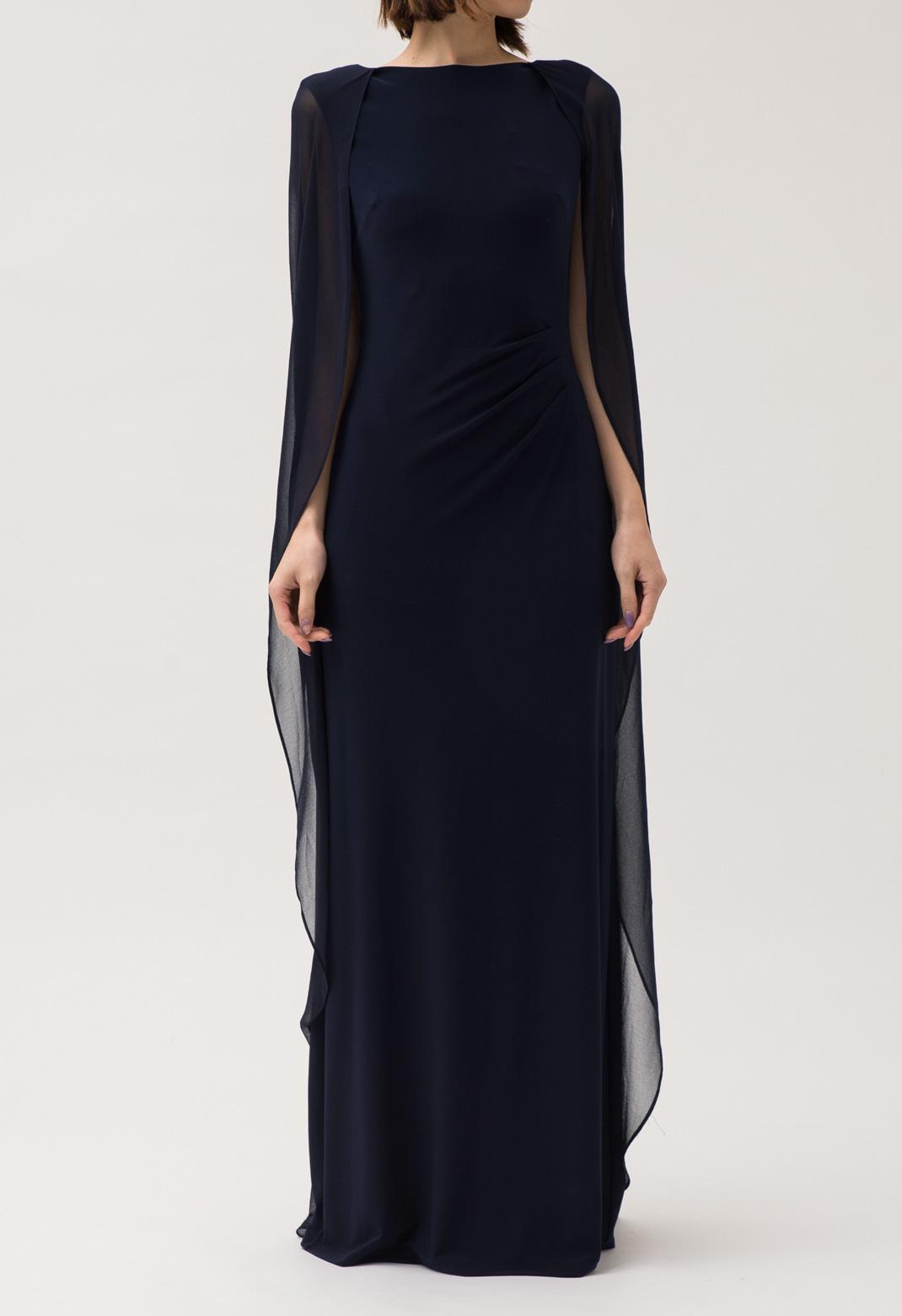 ケープ ノースリーブ ロングドレス