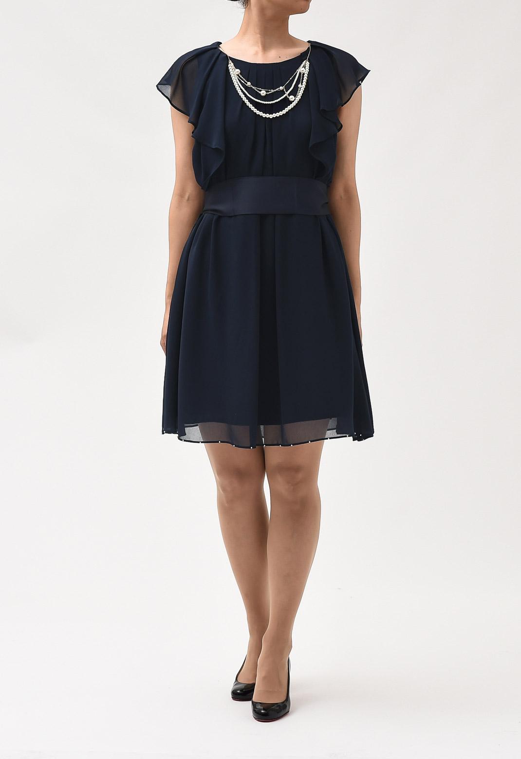 ネックレス飾り フリル袖 レイヤード ドレス