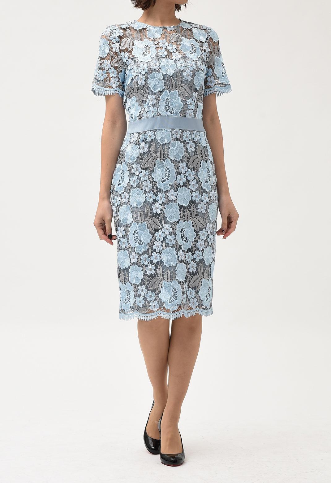 ブルー×グレー フラワー レース 半袖 ドレス